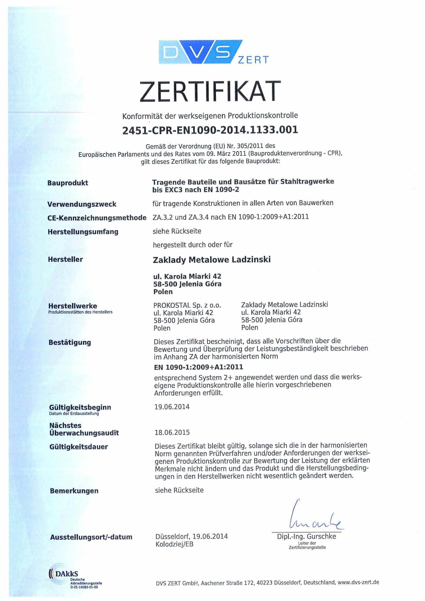 Certificates Prokostal En